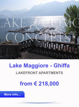 Lake Maggiore - Ghiffa LAKEFRONT APARTMENTS from € 218,000 More info... More info...