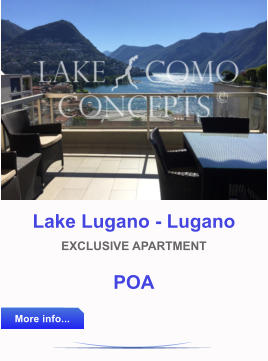 Lake Lugano - Lugano EXCLUSIVE APARTMENT POA More info... More info...