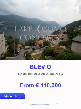 BLEVIO LAKEVIEW APARTMENTS From € 110,000 More info... More info...